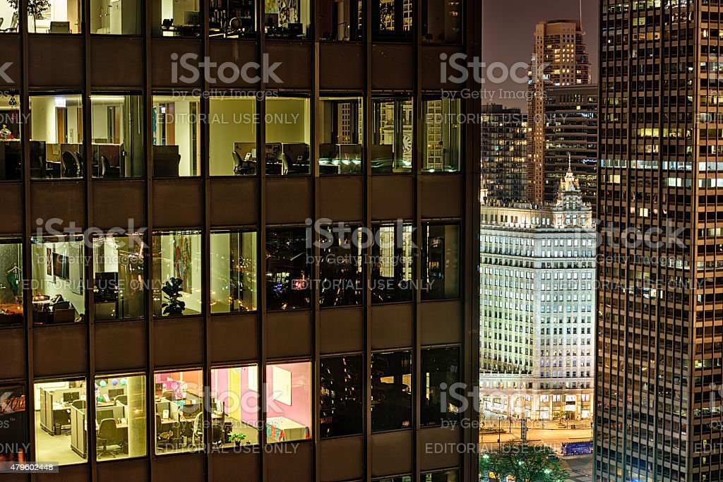 Chicago skyscrapers viewed from high up at night stock photo