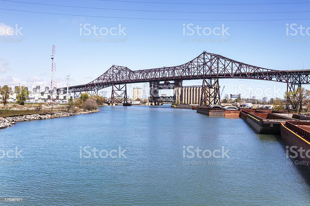 Chicago Skyway crossing the Calumet River stock photo