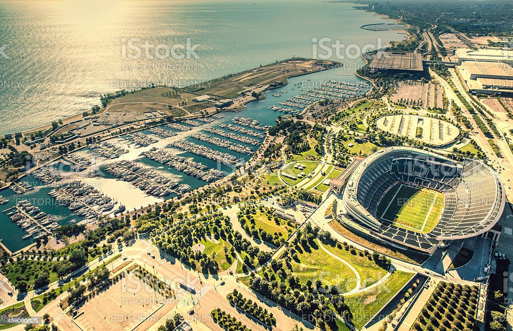 Chicago Soldiers Filed Stadium aerial view stock photo