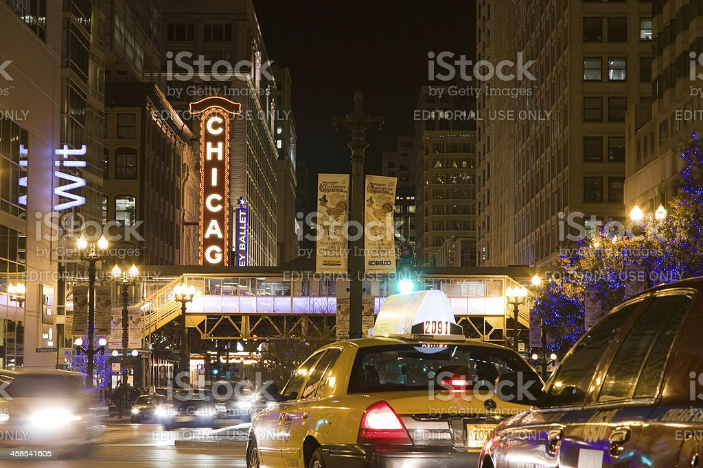 Chicago State Street at Night stock photo