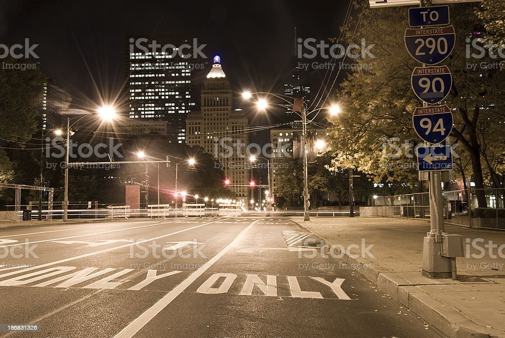 Chicago street view - USA Road marking stock photo
