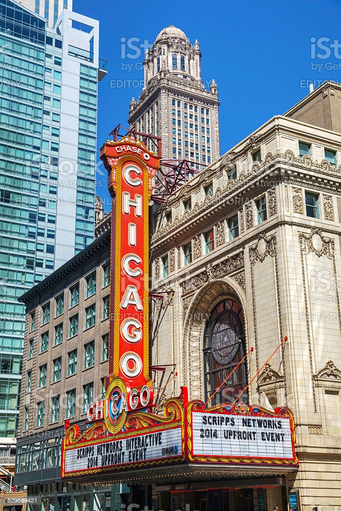Chicago theather sign stock photo