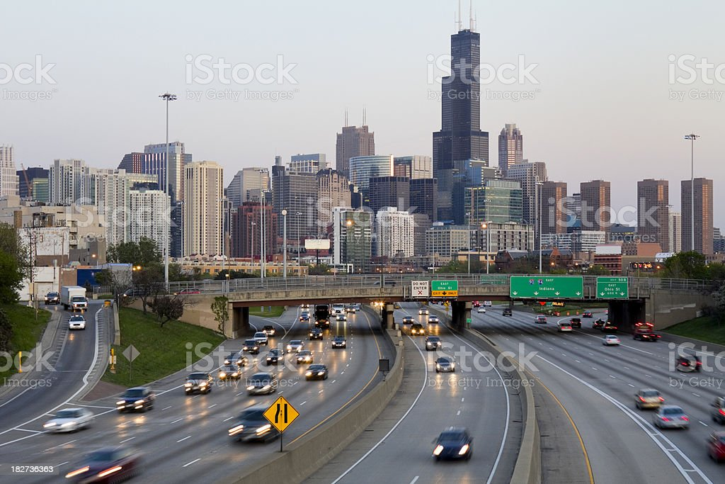 Chicago Traffic at Sunset royalty-free stock photo