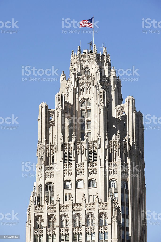 Chicago Tribune Tower Top Detail royalty-free stock photo