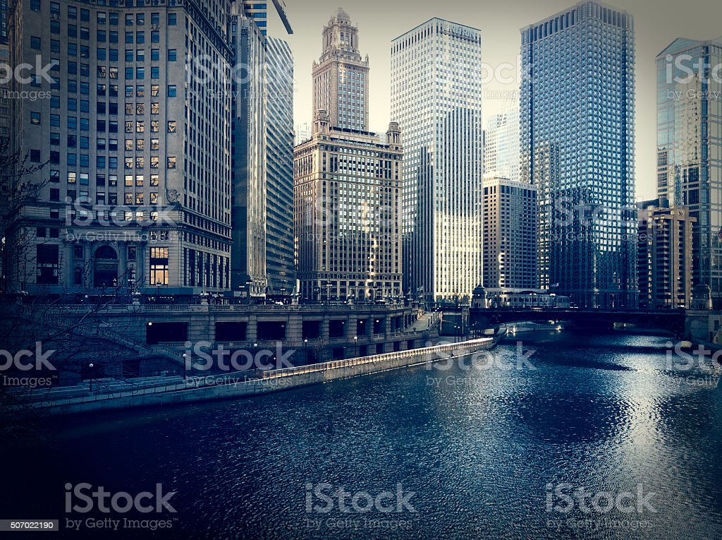 Chicago Urban Cityscape along the Chicago River stock photo