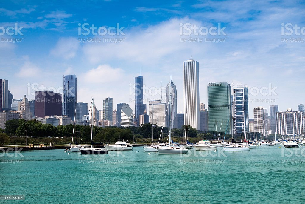 Chicago, view at Burnham harbor and downtown royalty-free stock photo