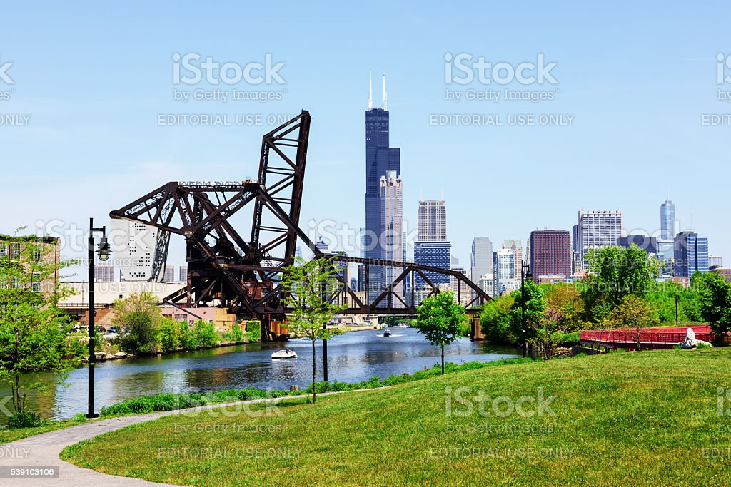 Chicago view from Ping Tom Park, Chinatown stock photo