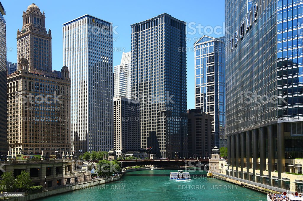 Chicago view with its river stock photo