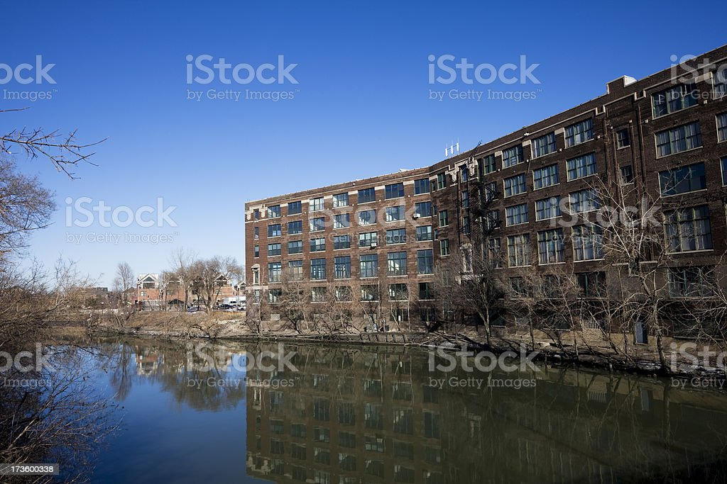 Chicago Vintage Factory by the River stock photo
