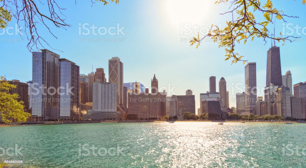 Chicago waterfront on summer day stock photo