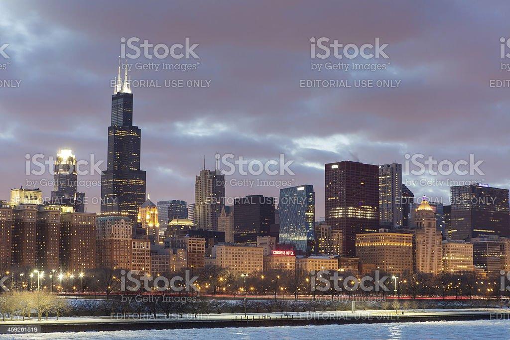 Chicago Winter Skyline royalty-free stock photo