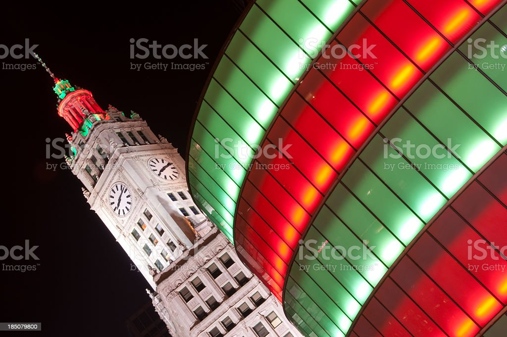 Chicago Wrigley building at Christmas stock photo