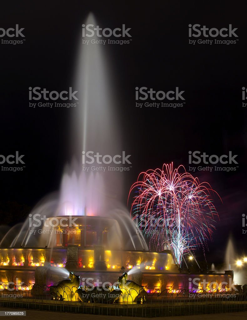 Chicago's famous fountain and fireworks royalty-free stock photo
