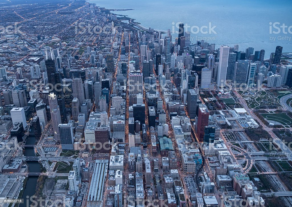 Chicago's famous skyscraper and stadium stock photo