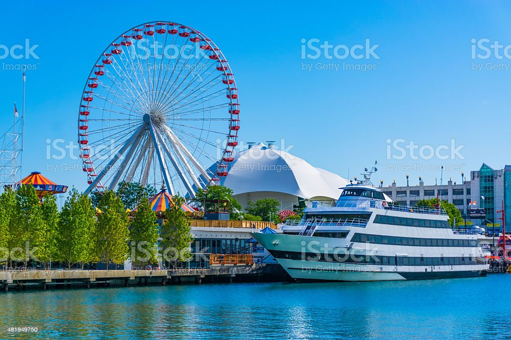 Chicago's Navy Pier along the Chicago River,ferris wheel,(P) stock photo