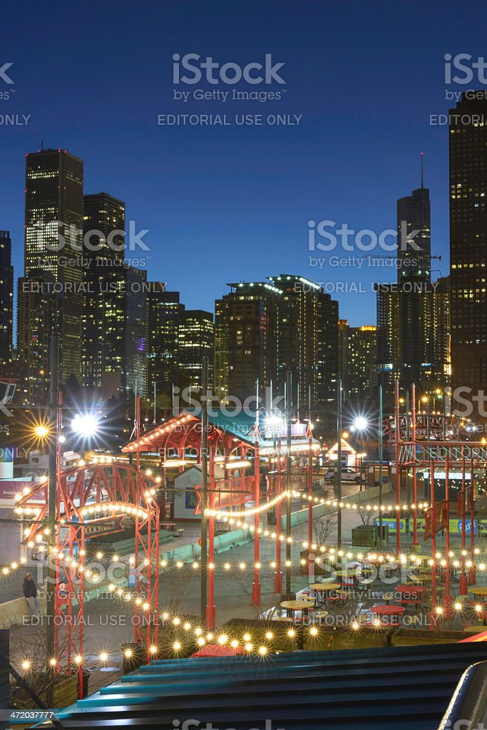Chicago's Navy Pier at Sunset stock photo