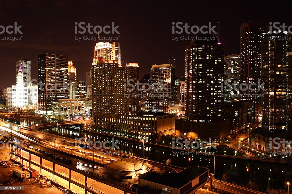 Chicago's skyscrapers skyline at night stock photo