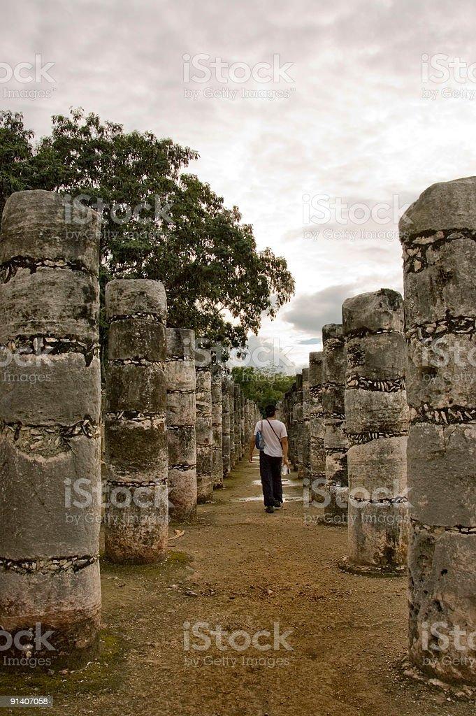 Chichen Itza columns royalty-free stock photo