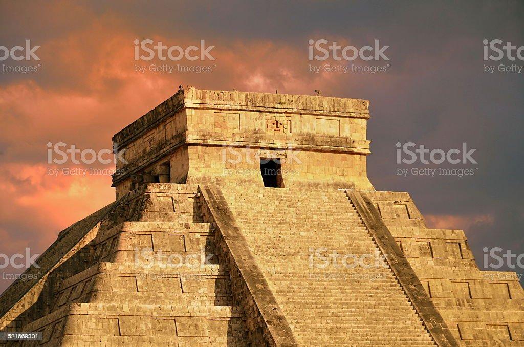 Chichen Itza equinox Kukulkan temple pyramid Mexico stock photo