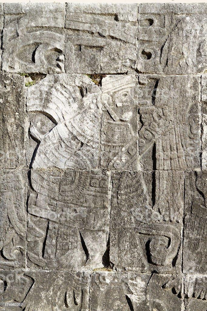 Chichen Itza Mexico petroglyphs royalty-free stock photo