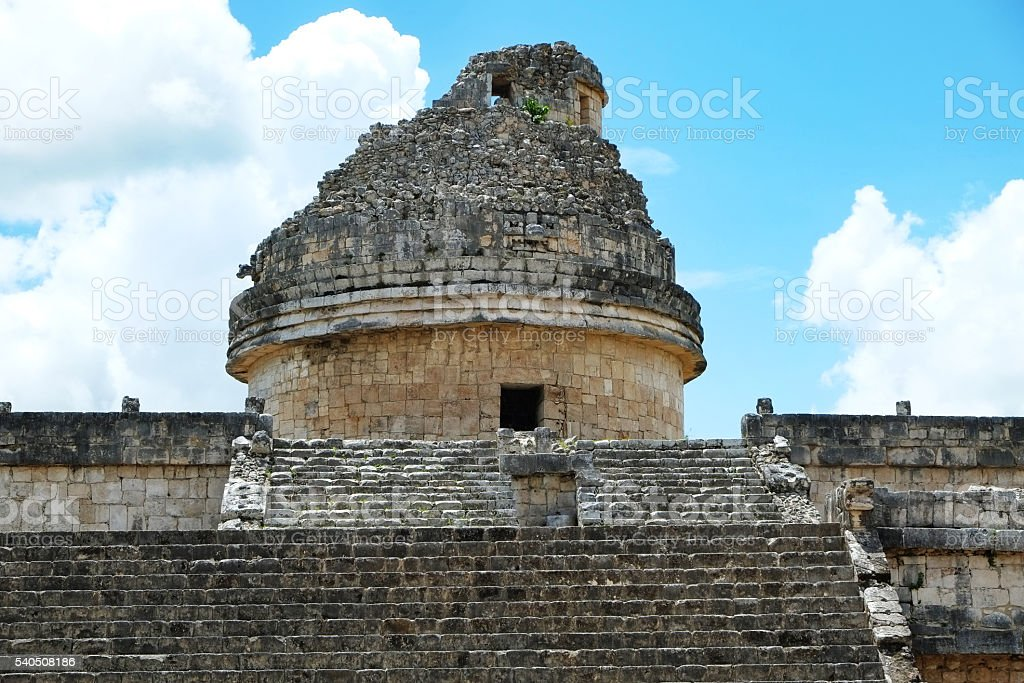 Chichen Itza Observation Tower and Pyramid stock photo