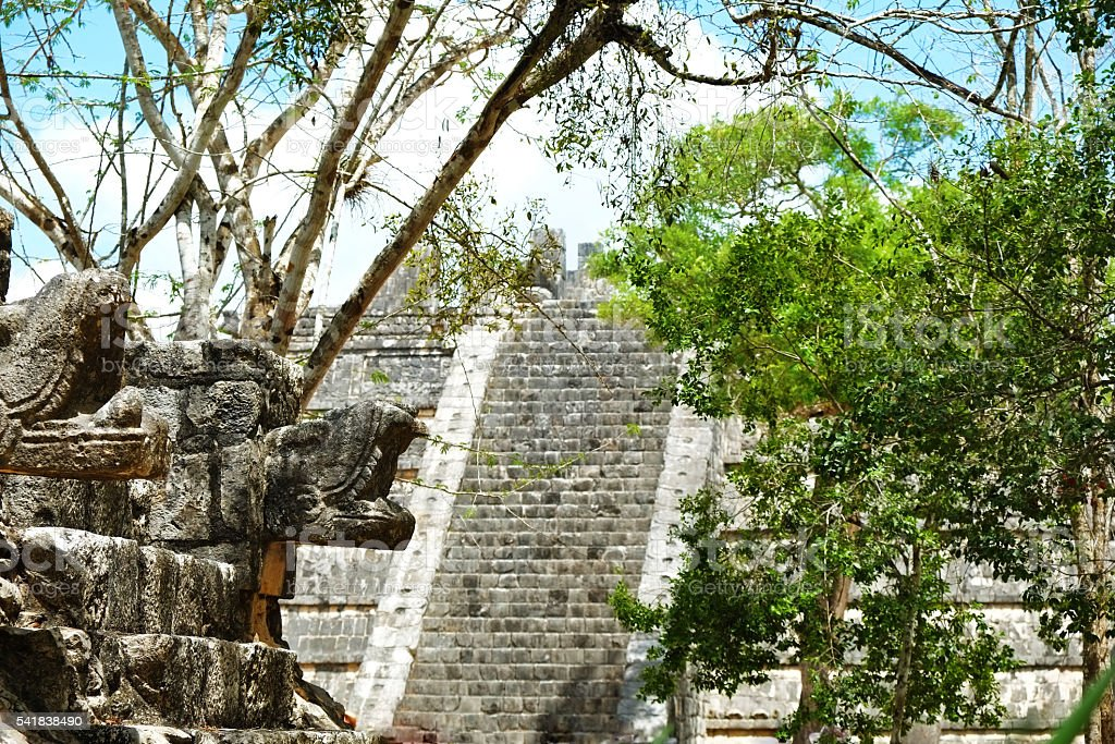 Chichen Itza Osario Pyramid and Carvings stock photo
