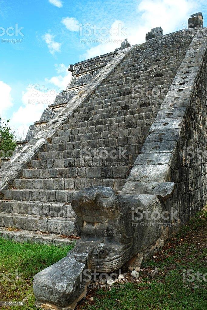 Chichen Itza Osario Pyramid Detail stock photo