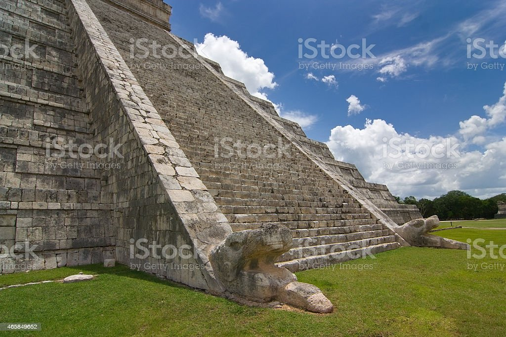 Chichen itza pyramid detailed view of stairs stock photo