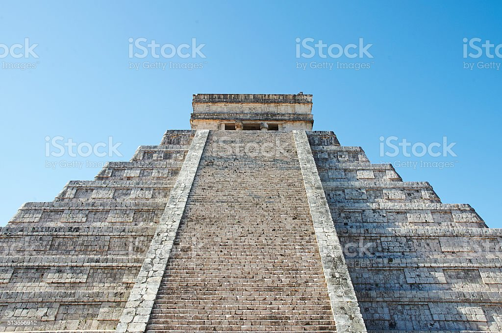 Chichen Itza Steps with Blue Sky ad Copy Space stock photo