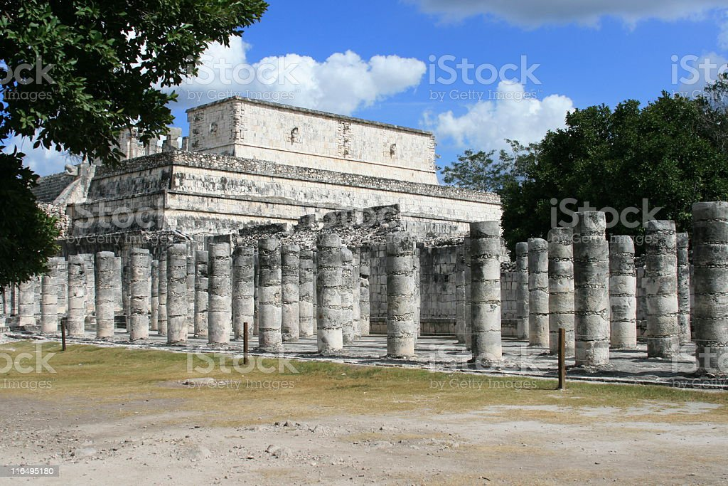 Chichen Itza, Temple of a 1000 warriors, Mayan ruins,  Mexico. royalty-free stock photo