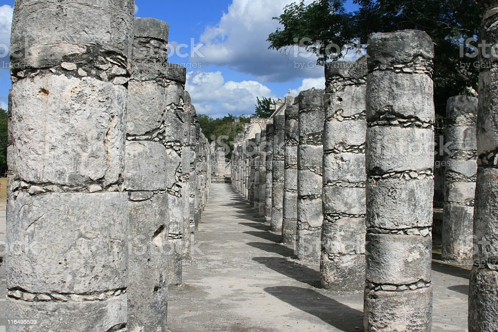 Chichen Itza. Temple of a 1000 Warriors. royalty-free stock photo