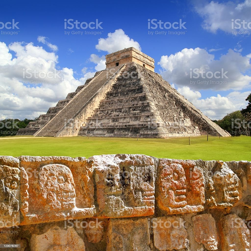 Chichen Itza Tzompantli the Wall of Skulls stock photo