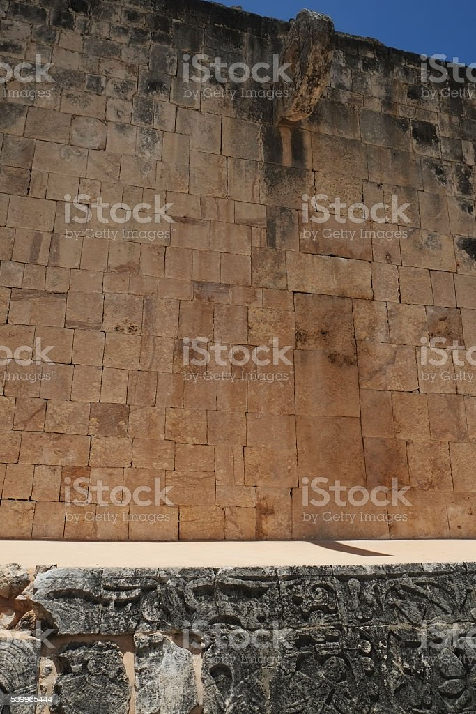 Chichen Itza Wall Carving at Ball Court stock photo