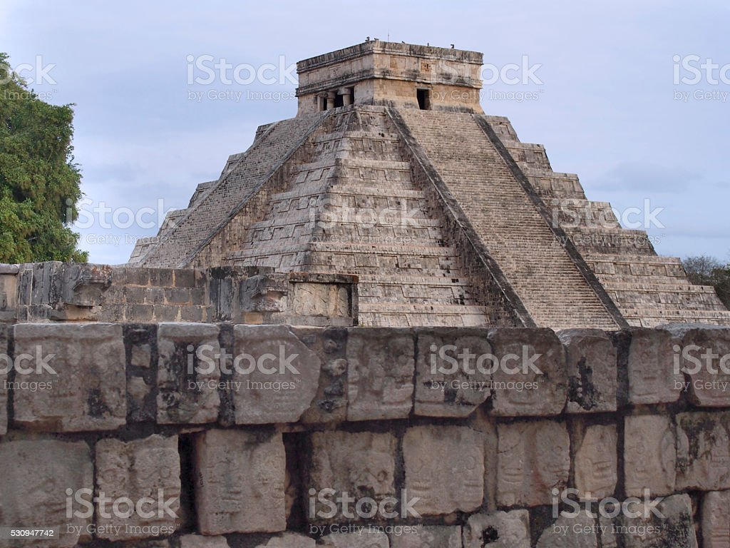 Chichen Itza with wall stock photo