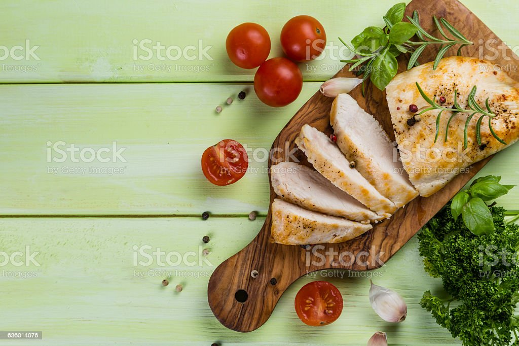 Chichen steak with herbs and spices stock photo