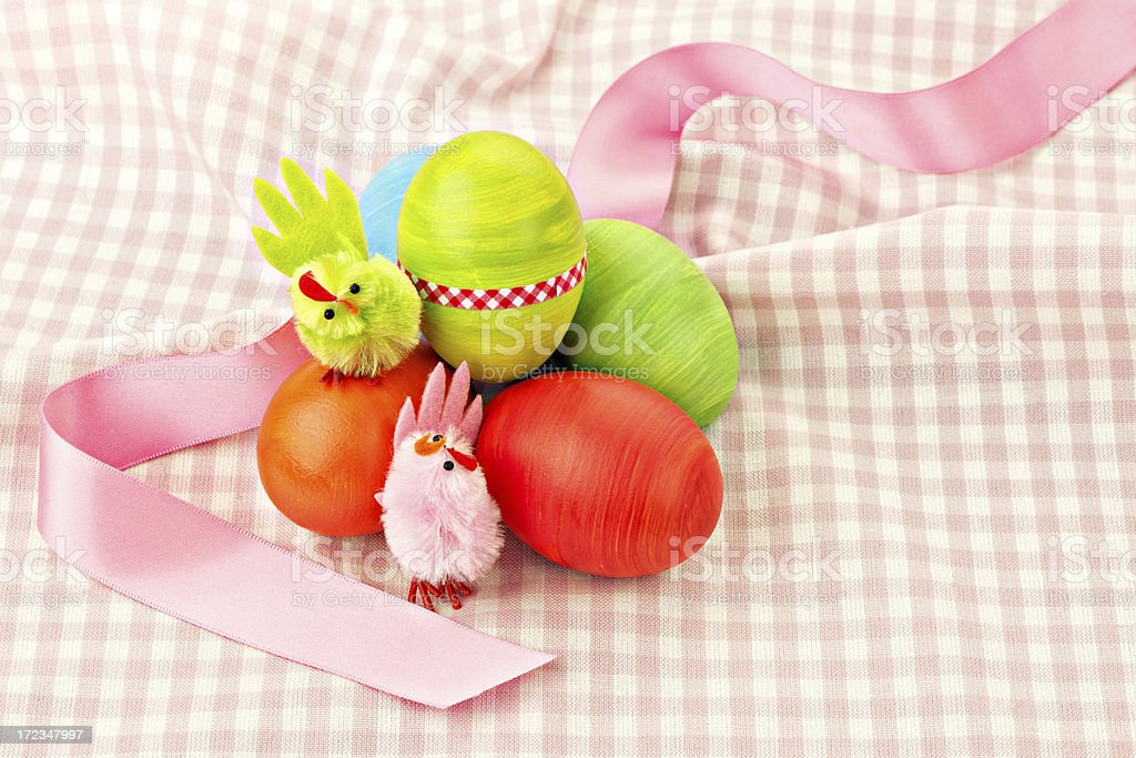 Chick and easter eggs royalty-free stock photo