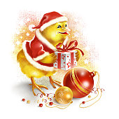 Chick in Santa Claus clothes with Christmas balls and gift.
