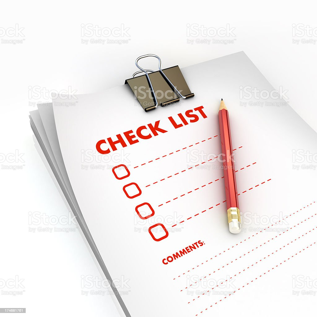 chick list with clip & pencil royalty-free stock photo