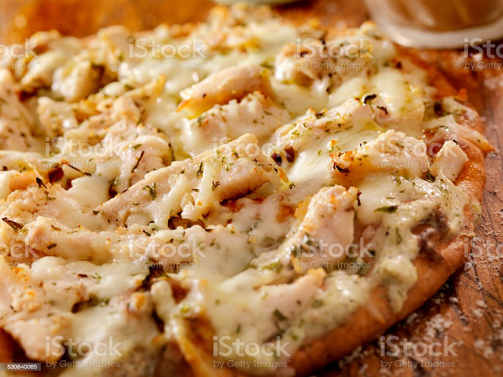 Chicken Alfredo Flat Bread stock photo