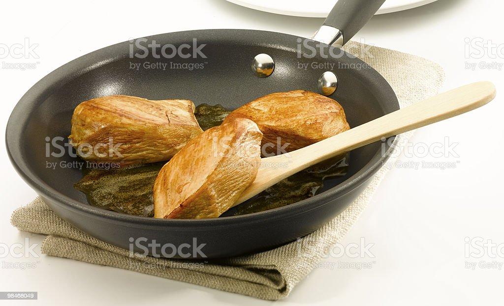 Chicken an a non stick pan stock photo