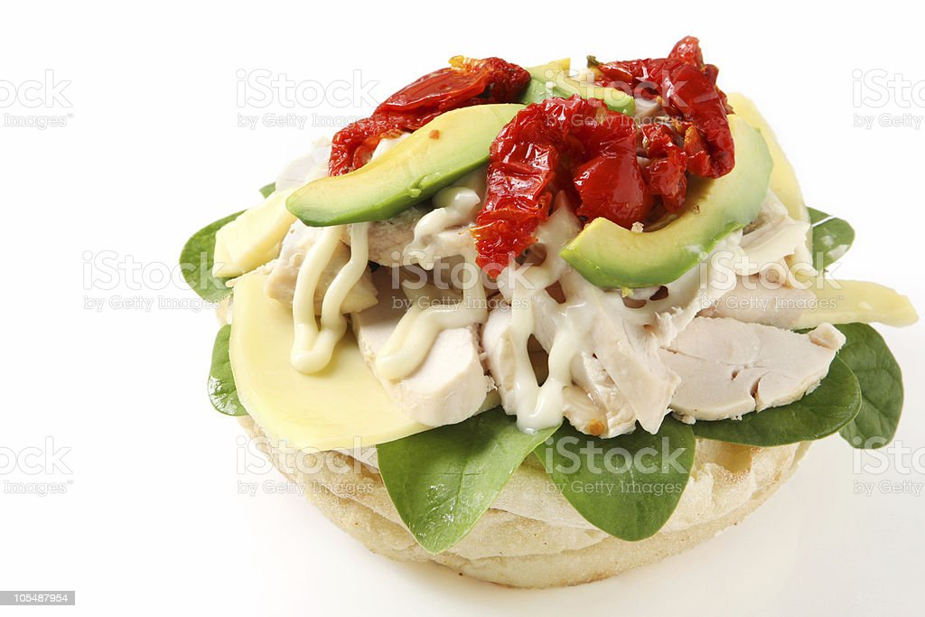 Chicken and Avocado Foccaccia royalty-free stock photo