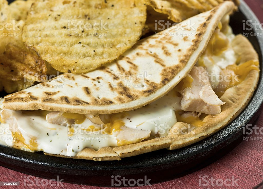 chicken and Bacon Ranch Flat-Bread Sandwich royalty-free stock photo