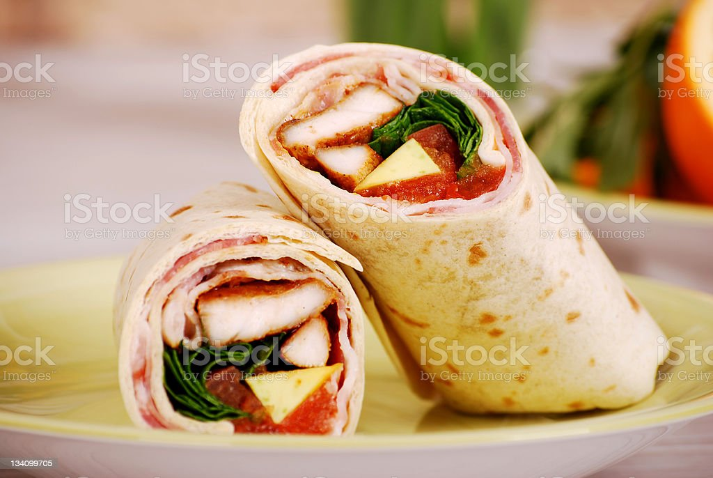 Chicken and bacon wrap sandwiches royalty-free stock photo
