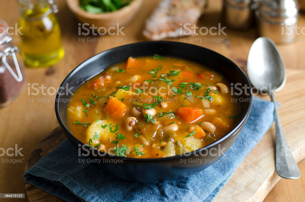 Chicken and bean soup stock photo