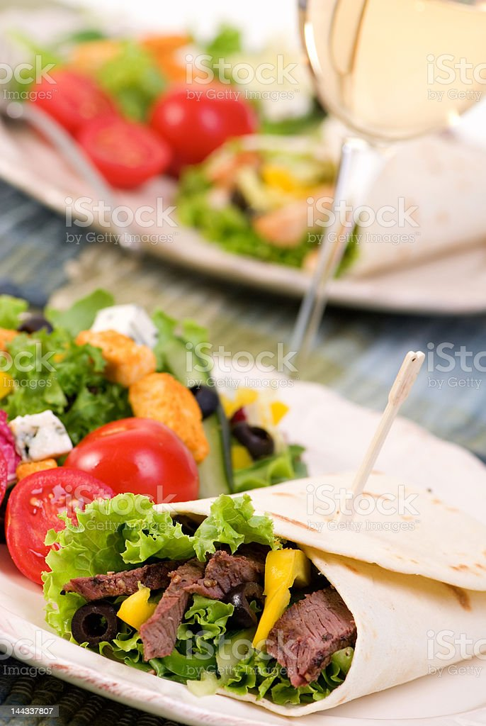 Chicken and Beef Wrap royalty-free stock photo