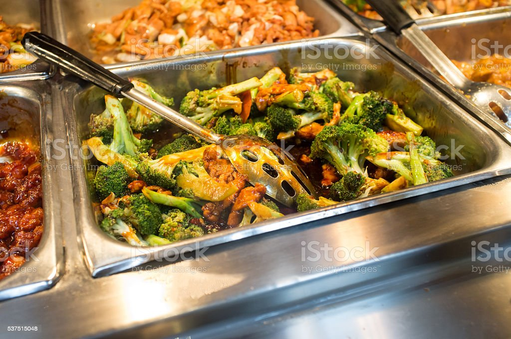 Chicken and Broccoli Buffet stock photo