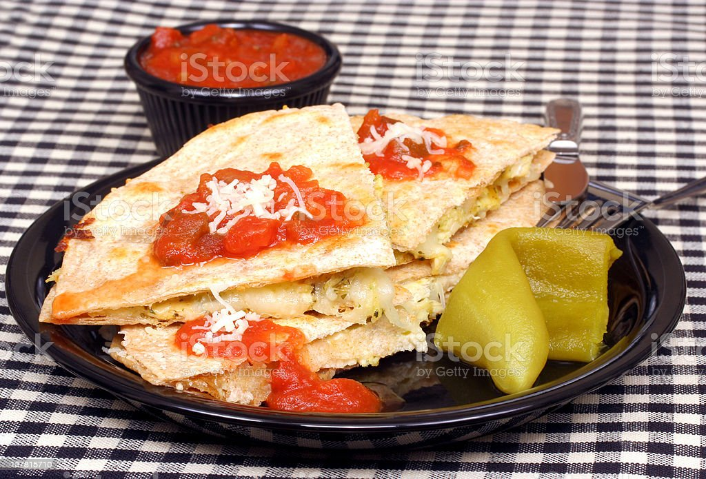 Chicken and Cheese Quesadilla royalty-free stock photo