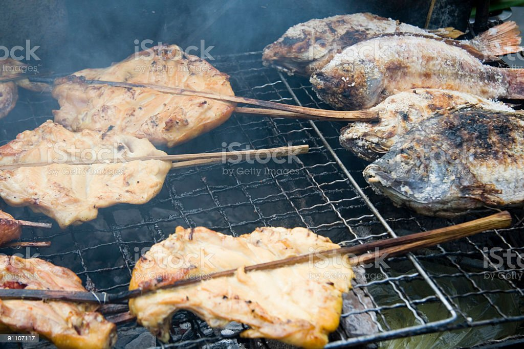 Chicken and fish royalty-free stock photo