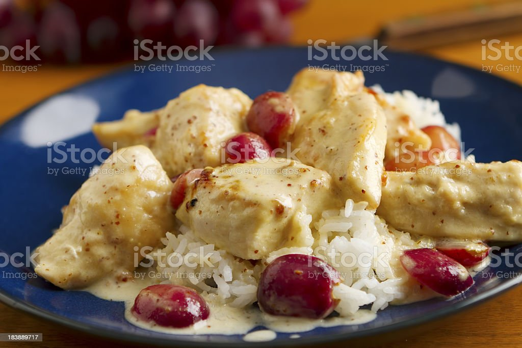 Chicken and Grapes in Mustard Sauce stock photo
