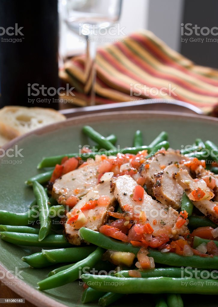 Chicken and green beans royalty-free stock photo